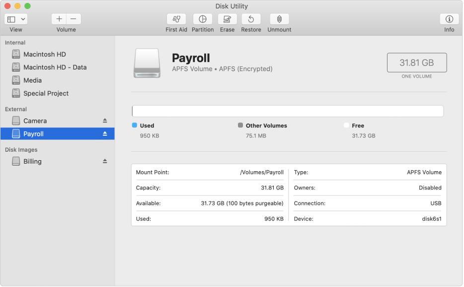 Tùy chọn APFS (Được mã hóa) trên menu Định dạng.