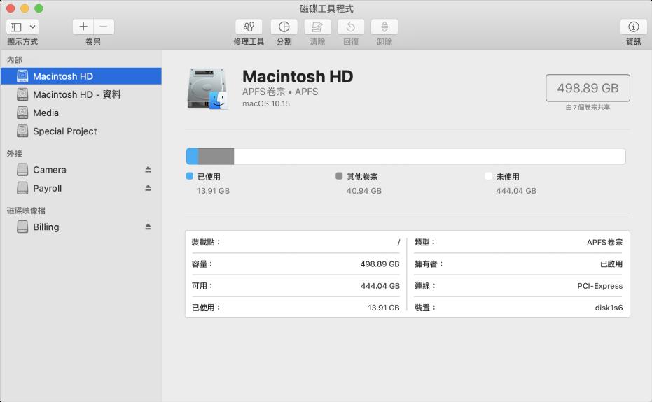 「磁碟工具程式」視窗,顯示內部磁碟上的 APFS 卷宗、外接磁碟上的卷宗和磁碟映像檔。