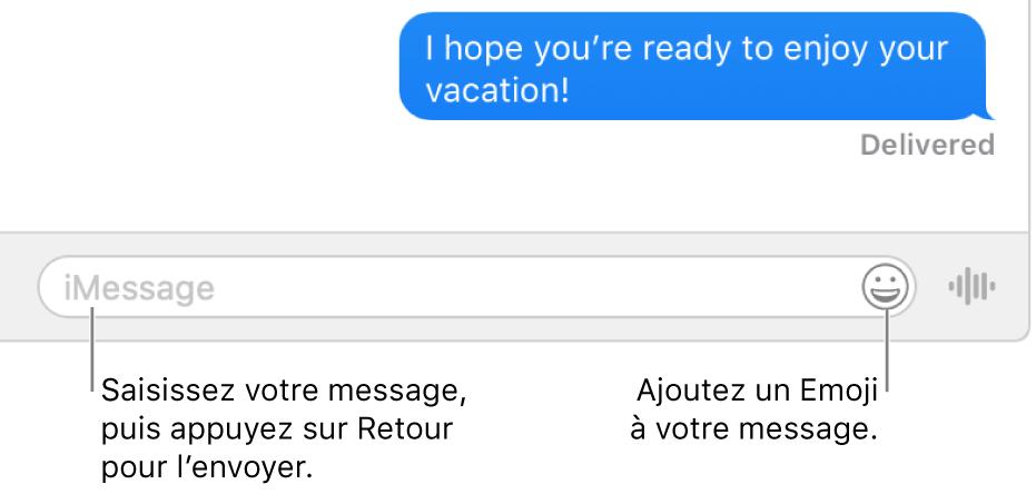 Une conversation dans la fenêtreMessages avec la zone de texte affichée au bas de la fenêtre.