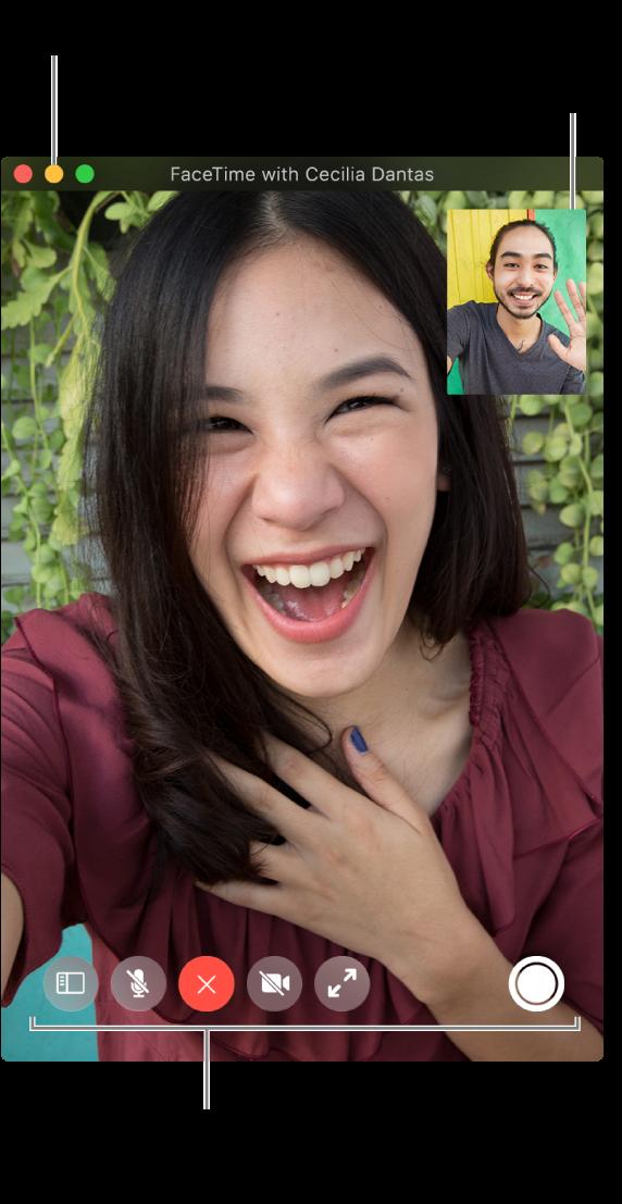 Placez le pointeur sur la fenêtre FaceTime pour afficher des options d'appel, comme les boutons Barre latérale, Couper le micro, Raccrocher, Couper le son de la vidéo, Plein écran et LivePhoto. Cliquez sur le bouton du milieu situé dans le coin supérieur gauche pour masquer la fenêtre d'appel. La fenêtre d'image dans l'image apparaît dans le coin supérieur droit.