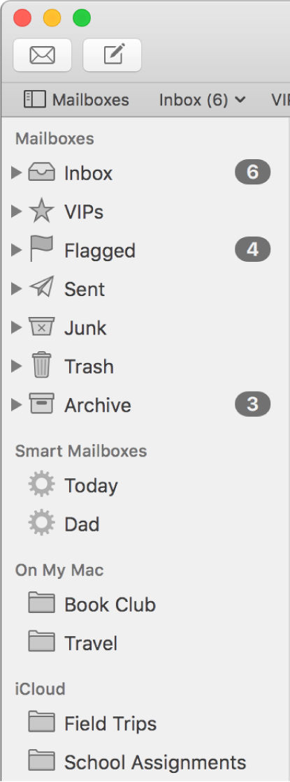 The Mail sidebar showing standard mailboxes (such as Inbox and Drafts) at the top of the sidebar and mailboxes you created in the On My Mac and iCloud sections.