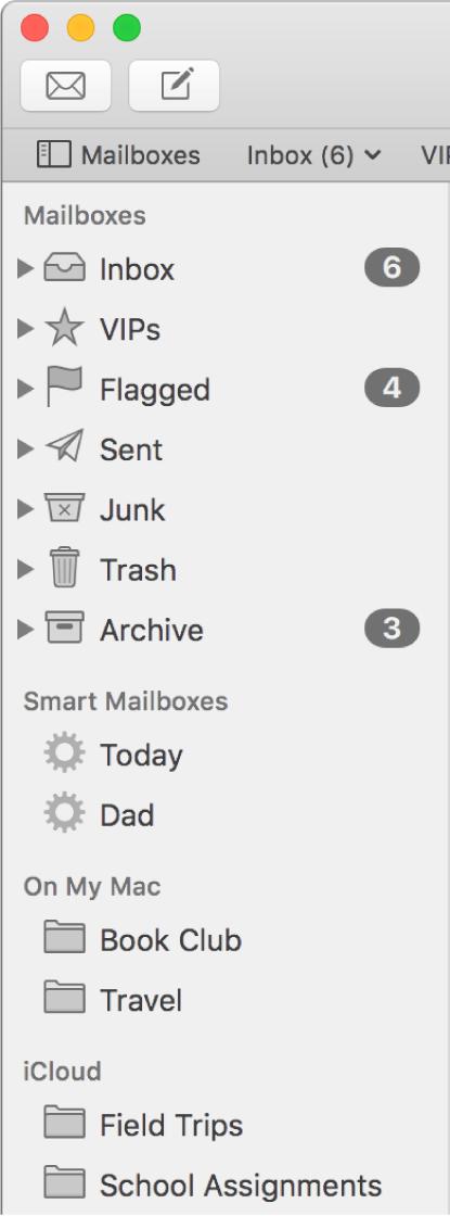 「メール」サイドバー。サイドバーの上部に標準のメールボックス(「受信」トレイ、「下書き」など)が表示され、「このMac内」セクションと「iCloud」セクションにユーザ作成のメールボックスが表示されています。