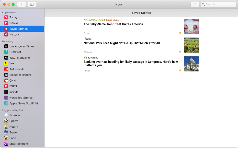 The Apple News window with Saved Stories selected in the sidebar on the left and the list of saved stories on the right.