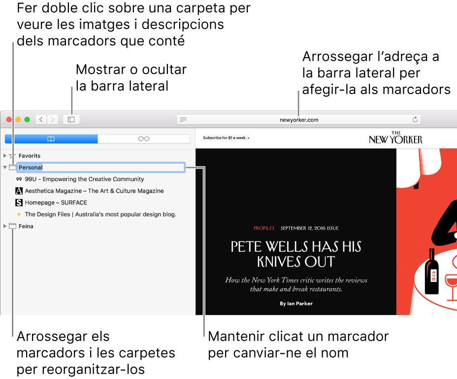 Una finestra del Safari que mostra marcadors a la barra lateral i un marcador seleccionat per editar-lo.