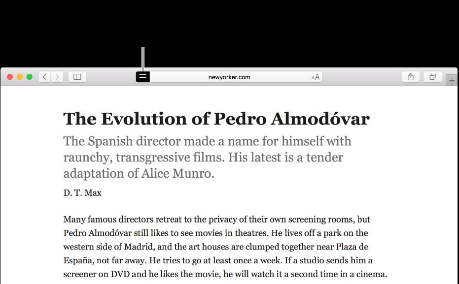 Un article affiché dans le lecteur, toutes les publicités et fonctions de navigation sont enlevées.