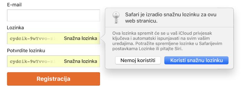 Stranica za izradu računa s prikazom automatski izrađene lozinke i odabira za njezino odbijanje ili prihvaćanje.