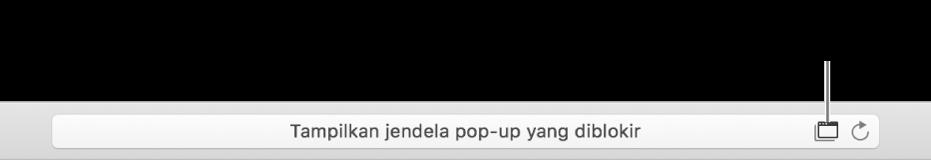 Bidang Pencarian Cerdas menampilkan ikon di sebelah kanan untuk mengizinkan jendela pop-up.