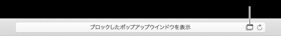 右側にポップアップウインドウの表示を許可するアイコンが表示されたスマート検索フィールド