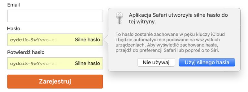 Widok strony rejestracji konta oraz automatyczne tworzenie hasła zmożliwością wyboru odrzucenia go lub użycia.