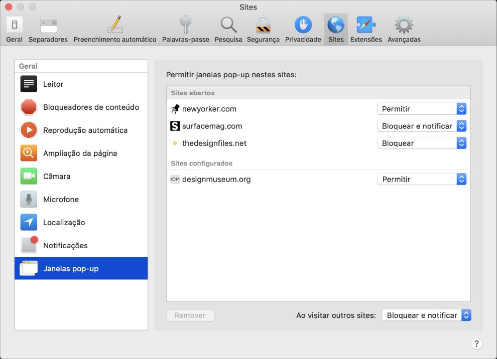 O painel de preferências Sites, onde é possível personalizar como navega em sites específicos usando o Safari.