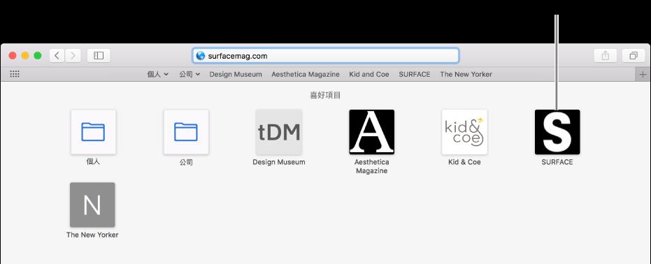 Safari 網址和搜尋欄位,下方是喜好網站的圖像。