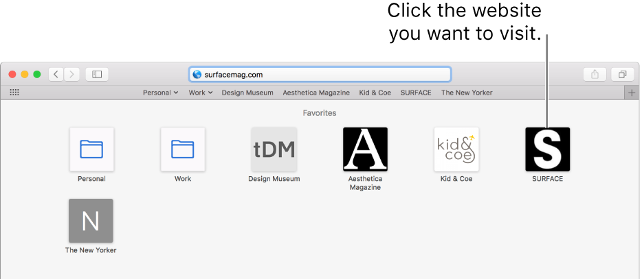 The Safari address and search field; below it are the icons of favorite websites.