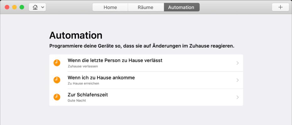 """Der Bildschirm """"Automation"""" mit Optionen für Geräte in folgenden Situationen: eine Person verlässt das Haus verlässt, eine Person kommt zu Hause an und es ist Schlafenszeit"""