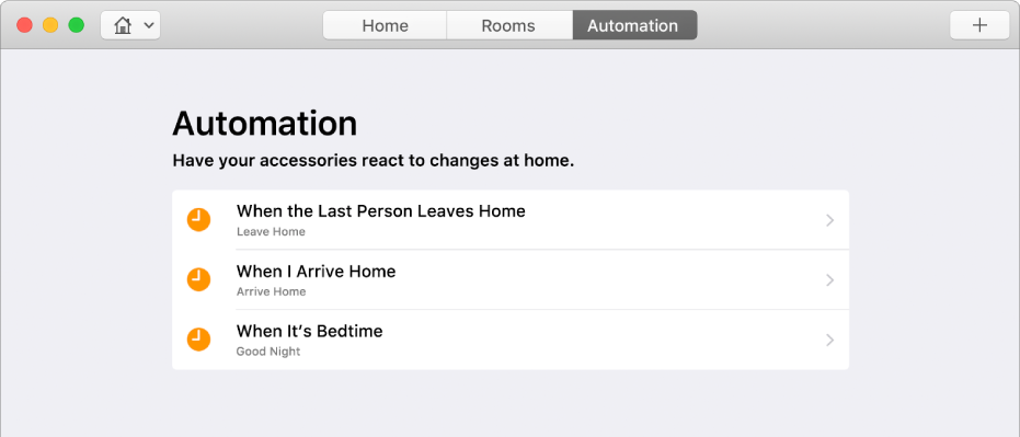 The Automation screen displaying options for accessories when a person leaves the home, when a person arrives home, and when it's bedtime.