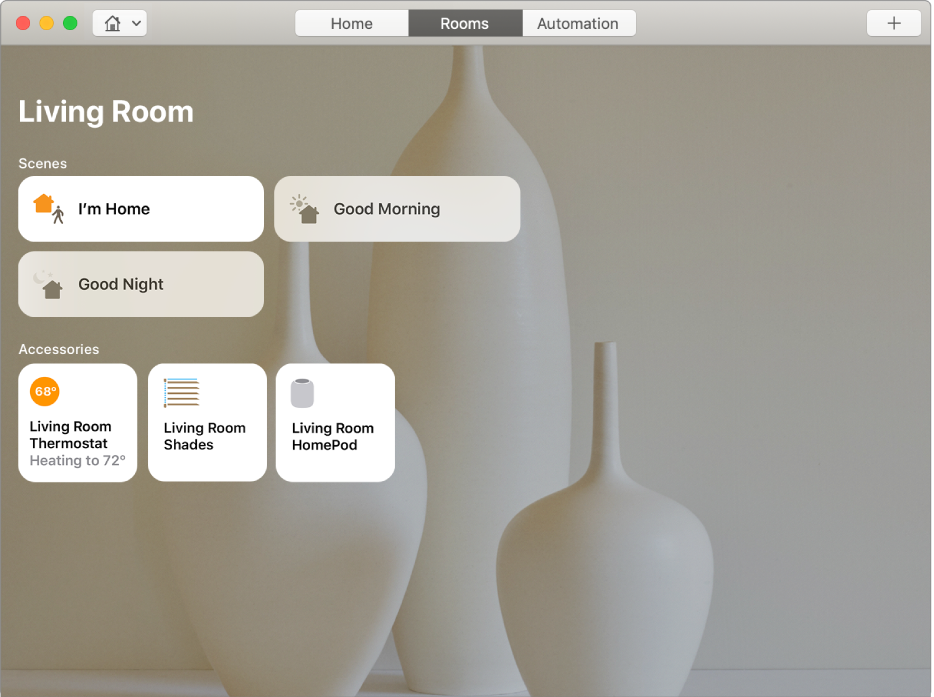 """The living room Room displaying the """"I'm Home"""" scene that includes the living room thermostat, living room shades, and living room HomePod accessories."""