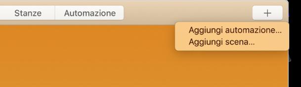 """Schermata di Casa con l'angolo in alto a destra evidenziato, che mostra le voci """"Aggiungi automazione"""" e """"Aggiungi scena"""" dal menu."""