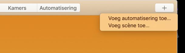 De rechterbovenhoek van het Woning-scherm met de knoppen 'Voeg automatisering toe' en 'Voeg scène toe' uit het menu 'Voeg toe'.