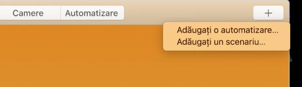 Colțul dreapta sus al ecranului Locuință, afișând Adăugați o automatizare și Adăugați un scenariu din meniul Adăugați.