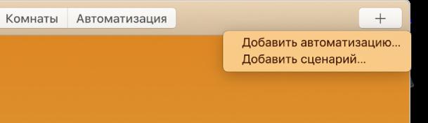В правом верхнем углу экрана программы «Дом» отображается меню «Добавить» с командами «Добавить автоматизацию» и «Добавить сценарий».