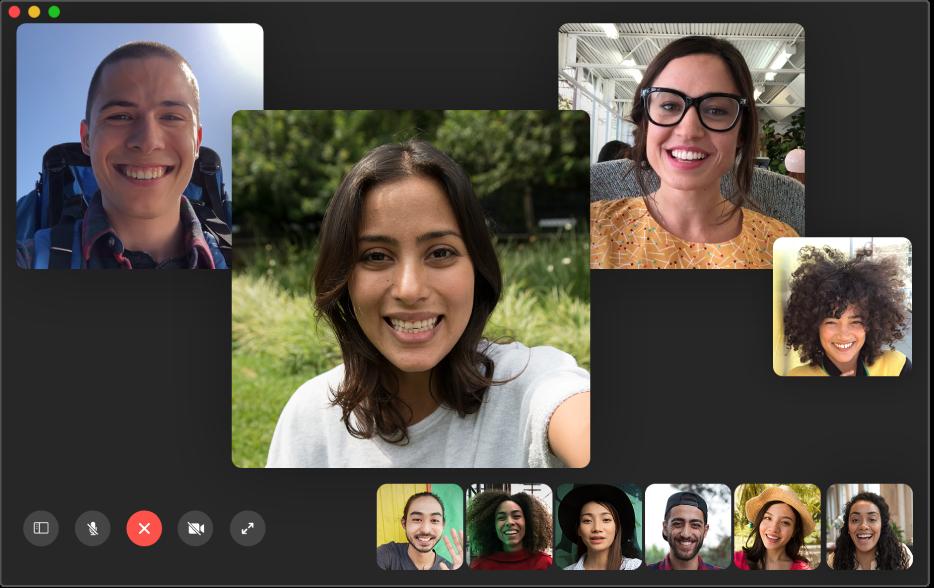 Okno aplikacji FaceTime podczas wykonywania połączenia grupowego.