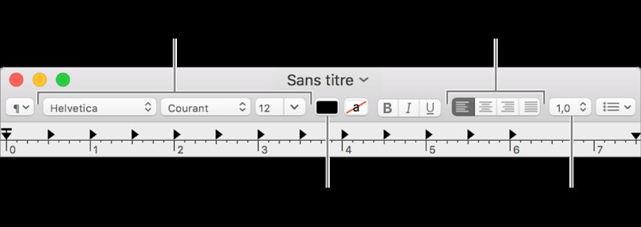 Barre d'outils de TextEdit pour un document RTF, présentant les commandes de police, d'alignement et d'espacement du texte.
