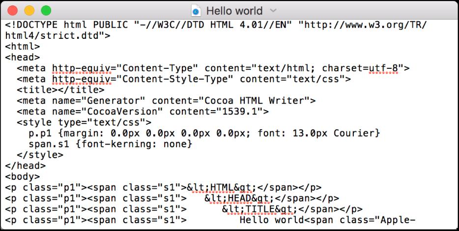 Un file HMTL in modalità di modifica del codice.