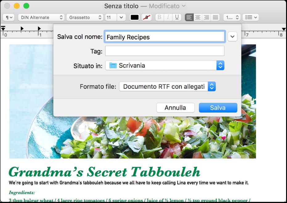 """La finestra di dialogo Salva con il menu a comparsa """"Formato file"""" nella parte inferiore."""