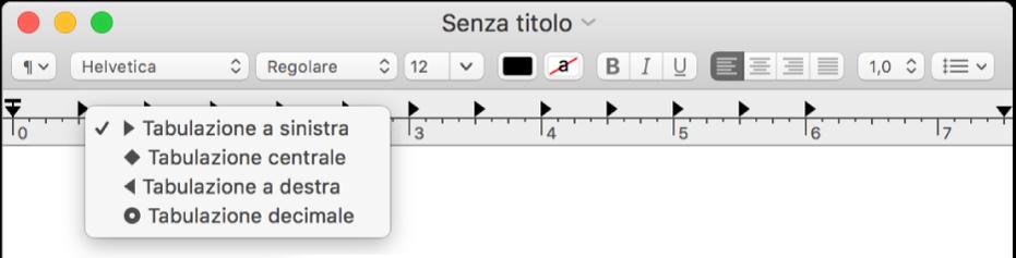 Il righello che mostra le opzioni di tabulazione.