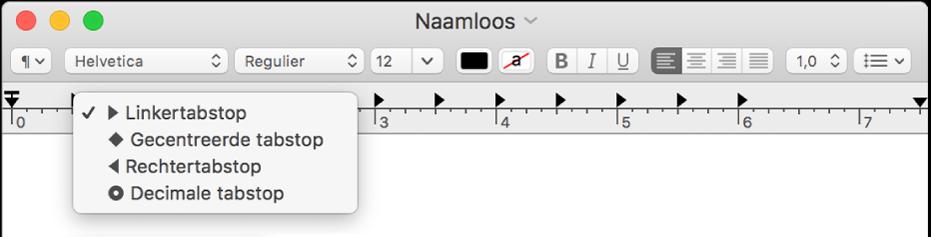 De liniaal met de opties voor tabstops.