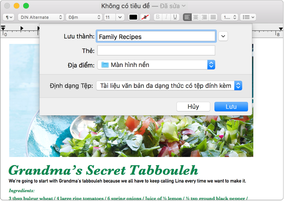 Hộp thoại Lưu với menu bật lên Định dạng tệp ở dưới cùng.