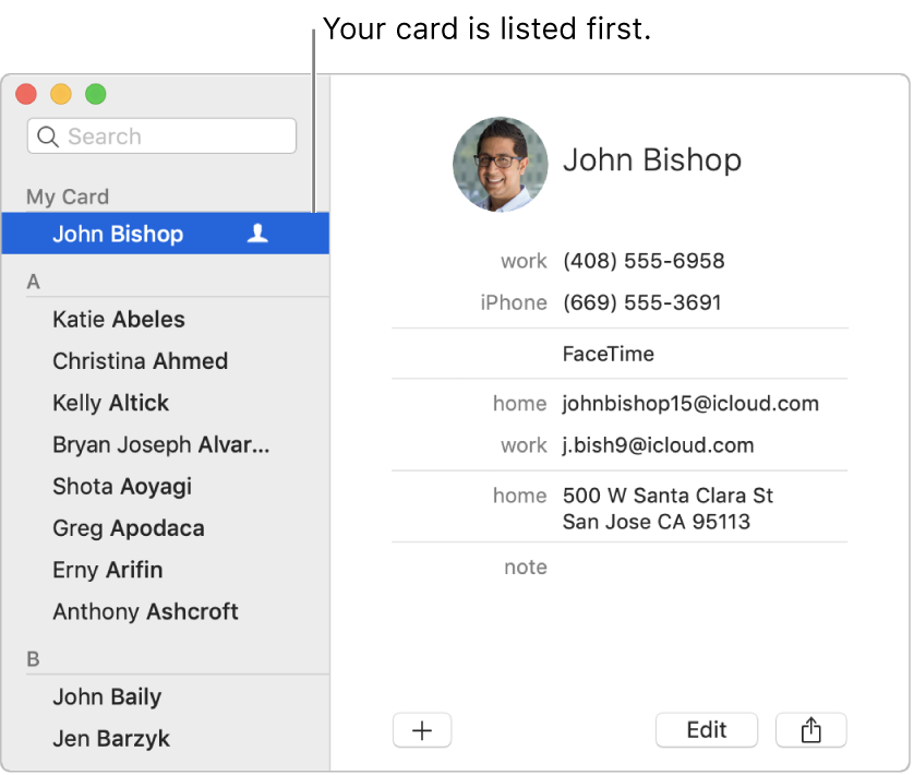 "The Contacts sidebar showing the ""me"" card listed at the top."