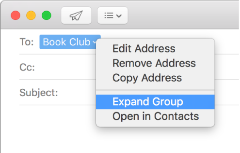 An email in Mail, showing a group in the To field and the pop-up menu showing the Expand Group command selected.