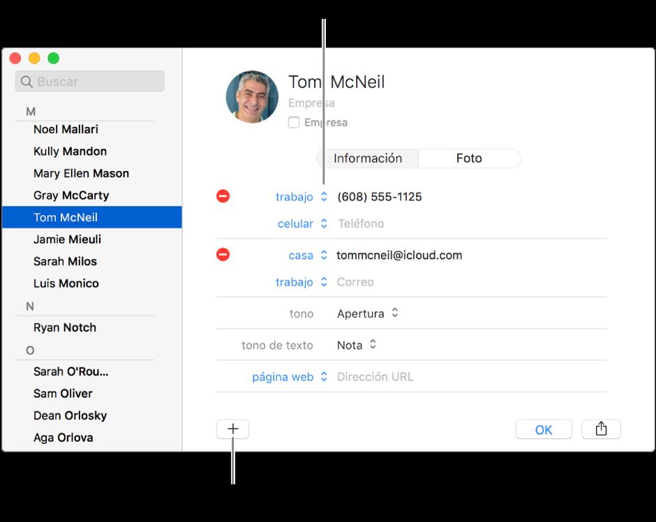 Una tarjeta de contacto mostrando una etiqueta de campo que se puede modificar y, en la parte inferior de la tarjeta, el botón para agregar un contacto, grupo o campo de tarjeta.