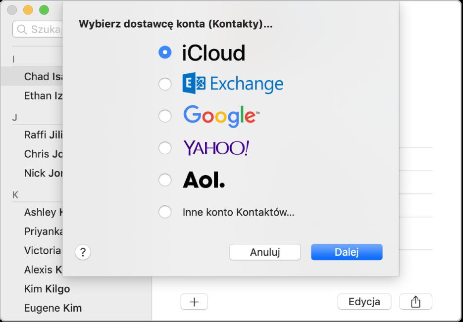 Okno dodawania kont internetowych do aplikacji Kontakty.