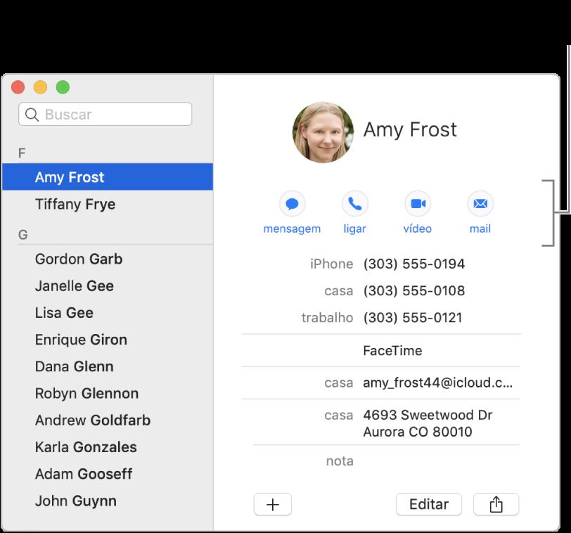 Cartão de contato mostrando botões localizados abaixo do nome do contato. Você pode usar esses botões para iniciar uma mensagem de texto, uma ligação telefônica, de áudio ou de vídeo ou um e‑mail.