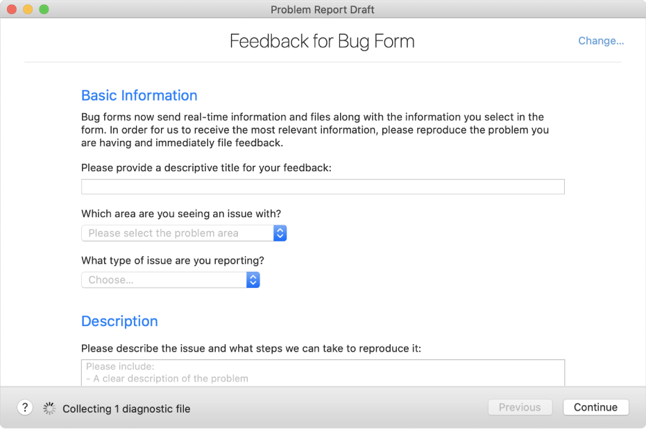A feedback form showing the basic information and description fields.