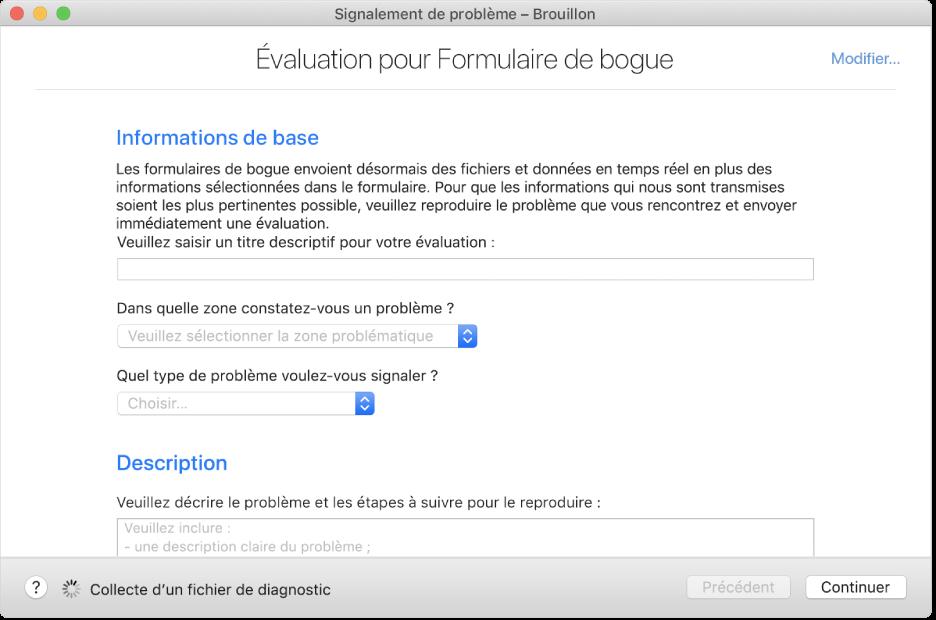 Formulaire d'évaluation affichant les champs des informations de base et de la description.