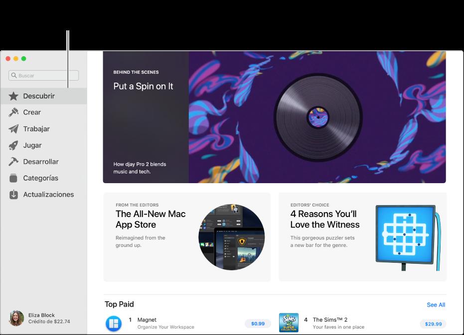 """La página principal de Mac AppStore. La barra lateral de la izquierda incluye enlaces a otras páginas: Descubrir, Crear, Trabajar, Jugar, Desarrollar, Categorías y Actualizaciones. A la derecha aparecen áreas en las que se puede hacer clic, como, por ejemplo, """"Tras la cámaras"""", """"De nuestros editores"""" y """"La recomendación del AppStore""""."""