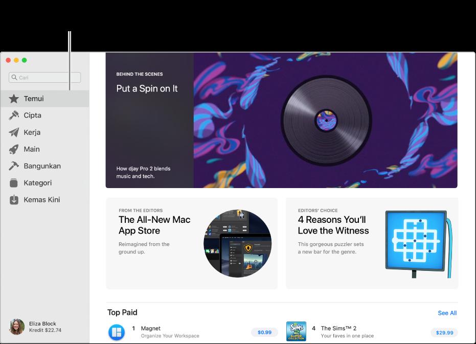 Halaman Mac App Store utama. Bar sisi di sebelah kiri termasuk pautan ke halaman lain: Temui, Cipta, Kerja, Main, Bangunkan, Kategori dan Kemas Kini. Di sebelah kanan adalah kawasan boleh diklik termasuk Sebalik Tabir, Daripada Editor dan Pilihan Editor.