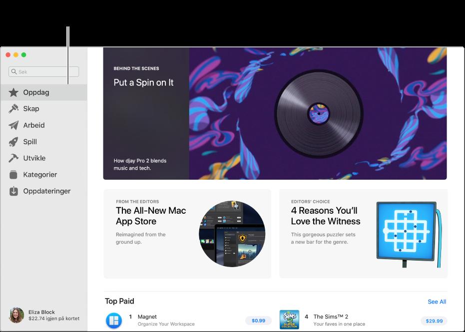 Hovedsiden for Mac App Store. Sidepanelet til venstre inneholder koblinger til andre sider: Oppdag, Skap, Arbeid, Spill, Utvikle, Kategorier og Oppdateringer. Til høyre finner du klikkbare områder som Bak kulissene, Fra redaktørene og Redaktørens utvalgte.