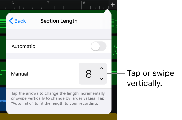 Controls for changing the length of a song section