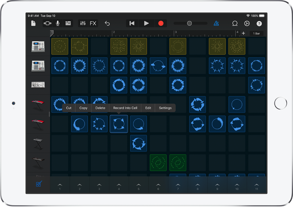 Figure. Live Loops grid with cell editing turned on.