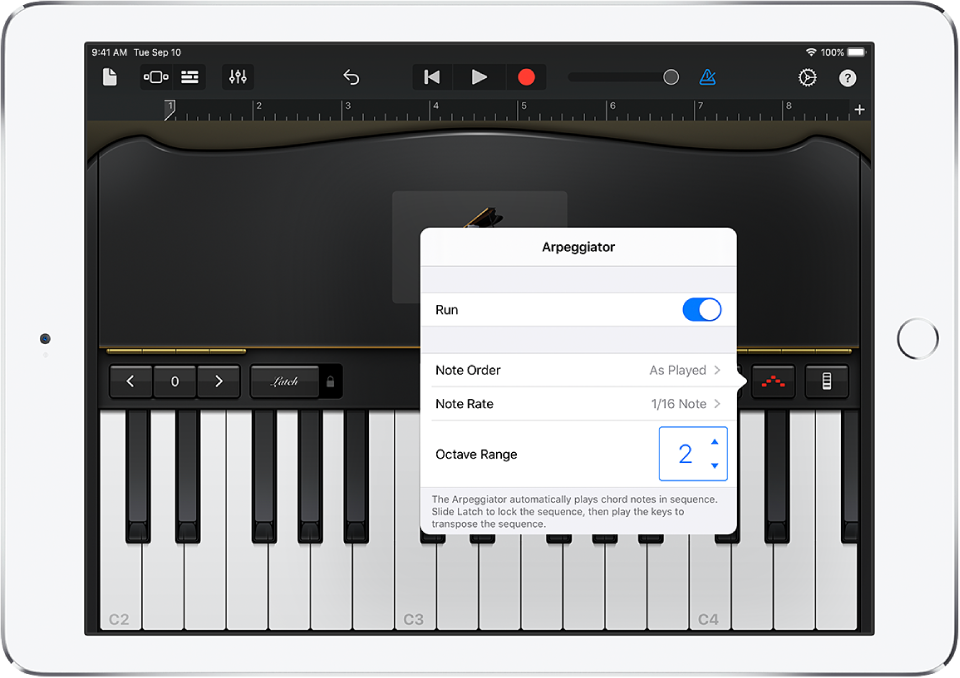 Regelaars voor keyboardarpeggiator