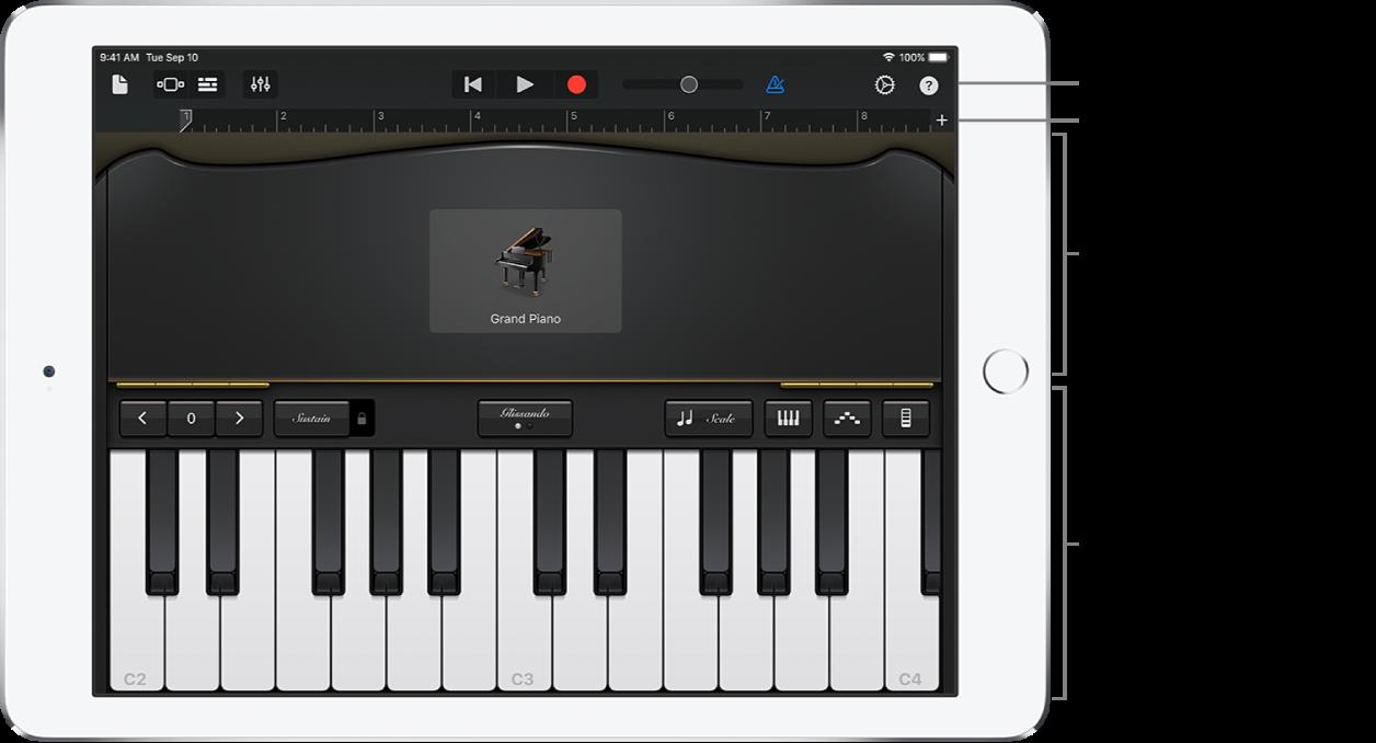 Touch-instrument som viser kontroll- og spilleområder
