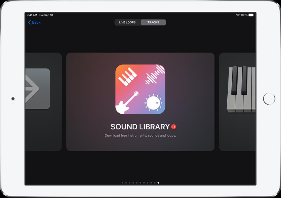Biblioteca de sons no navegador de sons
