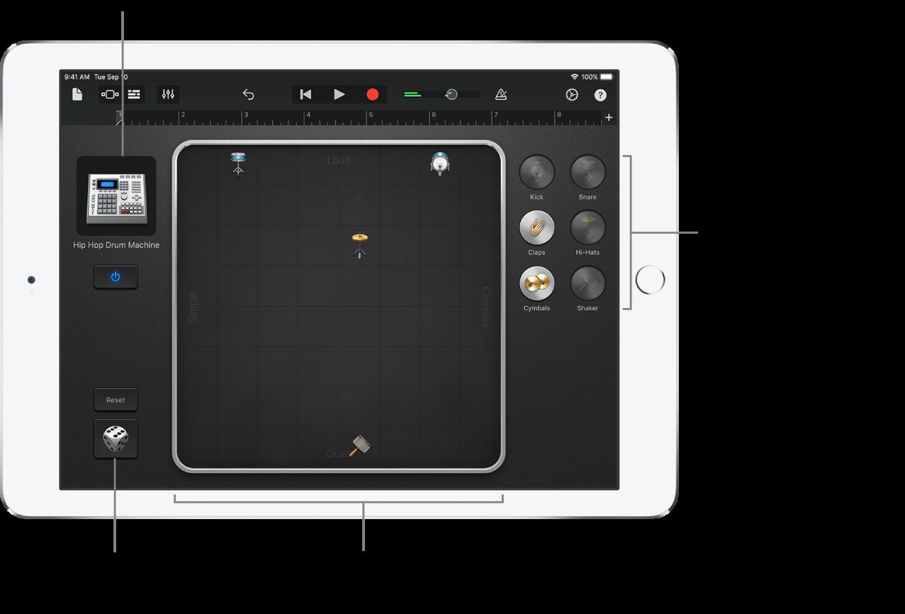 Instrumento táctil Smart Drums (bateria inteligente)