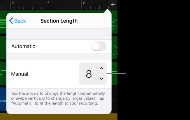 Reglage för att ändra längden på en låtsektion