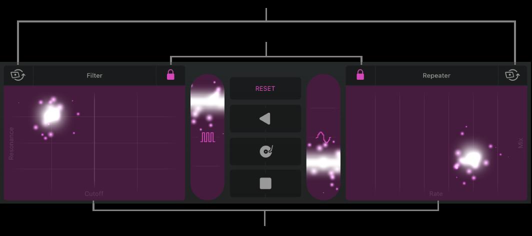 ภาพ พื้นที่แทร็คที่แสดง Remix FX