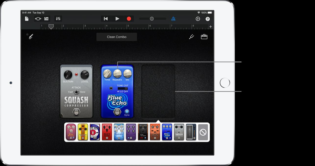 Gitar Amplifikatörü efekt pedalı düzenleme alanı