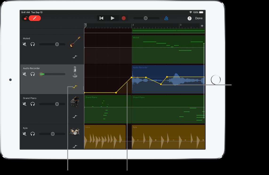 圖表。音軌自動混音,顯示自動混音曲線、自動混音點和「略過」按鈕。